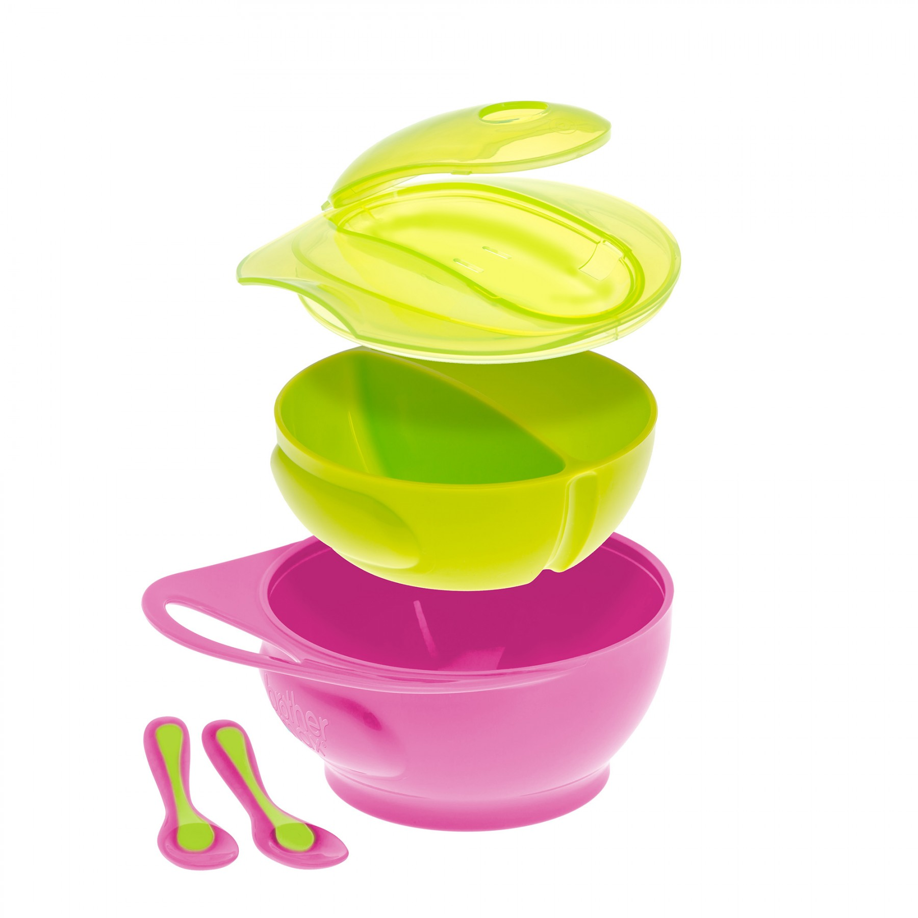Brother Max – Easy Hold Weaning Bowl Set – Pink/Green