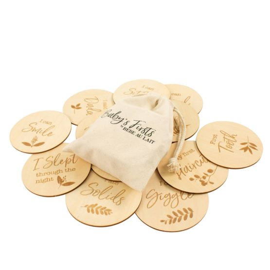 Bebe Au Lait Baby's Firsts (12 Discs) Set Wooden Bebe Saying Disc