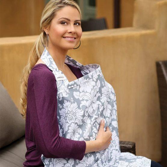 Bebe au Lait Premium Cotton Nursing Essentials Set, Nursing Cover and Burp Cloth – Chateau Silver